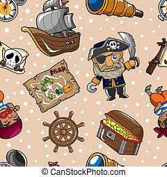 padrão, seamless, pirata