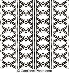 padrão, seamless, pretas, arabescos, étnico, branca
