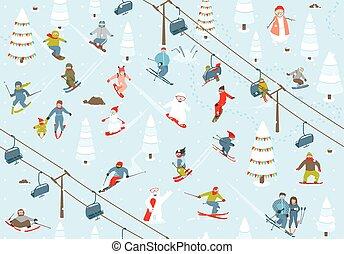 padrão, seamless, recurso, snowboarders, esquiadores, esqui