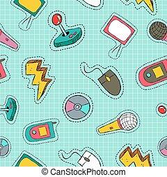 padrão, seamless, remendo, retro, tecnologia, ícone