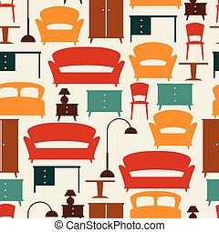 padrão, seamless, retro, interior, style., mobília