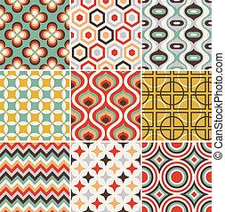 padrão, seamless, retro