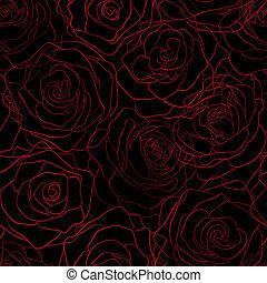 padrão, seamless, rosas, pretas, contornos, fundo, vermelho
