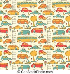 padrão, seamless, transporte, colorido