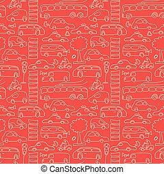 padrão, seamless, transporte, vermelho