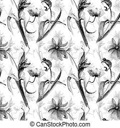 padrão, seamless, tulipa, papoulas, floral, monocromático, flores