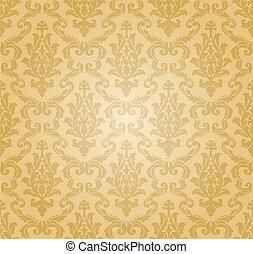padrão, seamless, (vector), damasco