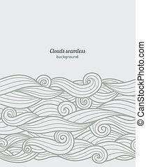 padrão, seamless, vetorial, fundo, ondas, borda
