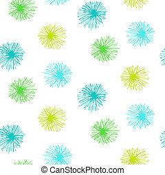 padrão, seamless, vetorial, furry, pequeno, flores