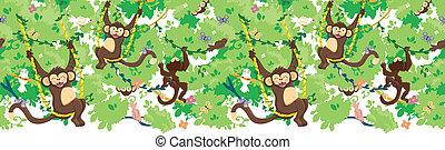 padrão, seamless, vetorial, horizontais, borda, macacos, feliz