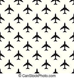 padrão, seamless, vetorial, pretas, silhouettes., avião