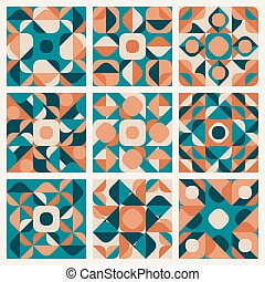 padrão, seamless, vetorial, retro, teal, étnico, laranja, geomã©´ricas