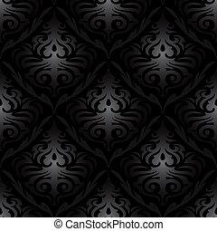 padrão, seda, pretas, seamless, papel parede