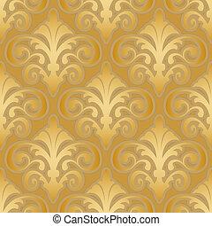 padrão, seda, seamless, ouro, papel parede