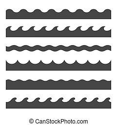 padrão, set., seamless, onda, vetorial, modelo