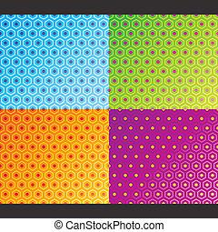padrão, set., seamless, vector., favo mel