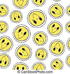 padrão, smiley, seamless, rosto, retro, remendo, ícone