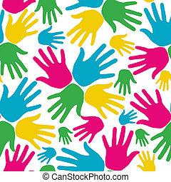 padrão, social, diversidade, seamless, mãos