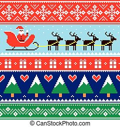 padrão, suéter, jumper, ou, natal