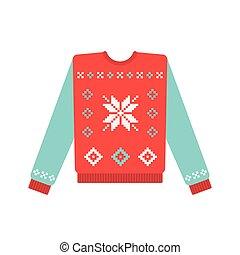 padrão, suéter, snowflake, natal, feio