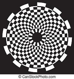 padrão, tabuleiro damas, desenho, espiral