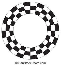 padrão, tabuleiro damas, espiral, quadro