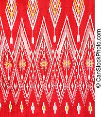 padrão, tailandês, tecido de seda, nativo