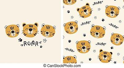 padrão, tigers., impressão, illustreation, seamless, cute, jogo, tiger, vetorial