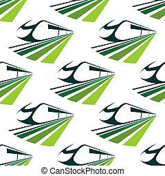 padrão, trem, modernos, verde, seamless