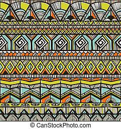 padrão, tribal, hand-drawn