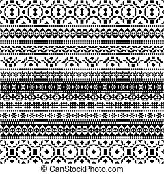 padrão, tribal, -, seamless, aztec, experiência preta, branca