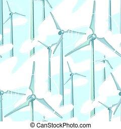 padrão, turbinas, nublado, girar, vetorial, céu vento