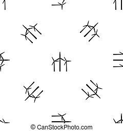 padrão, turbinas, seamless, vento, pretas
