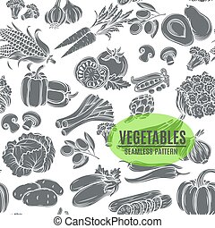 padrão, vegetables., decorativo, seamless, monocromático