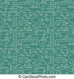 padrão, verde, seamless, transporte