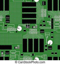 padrão, verde, tábua, circuito, seamless