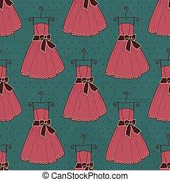 padrão, vestido, seamless