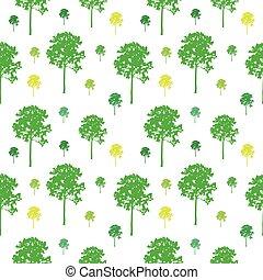 padrão, vetorial, árvore, seamless, fundo