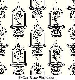 padrão, vetorial, caricatura, seamless