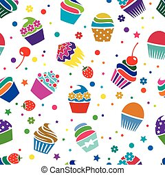 padrão, vetorial, cupcakes, seamless