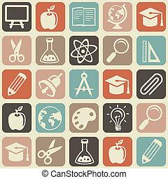 padrão, vetorial, educação, seamless, ícones