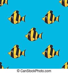 padrão, vetorial, fishes., seamless, coloridos