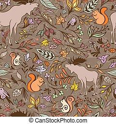 padrão, vetorial, floresta, outono