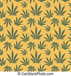 padrão, vetorial, folha, seamless, cannabis