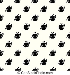 padrão, vetorial, maçã, seamless, verme