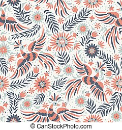 padrão, vetorial, mexicano, seamless, bordado