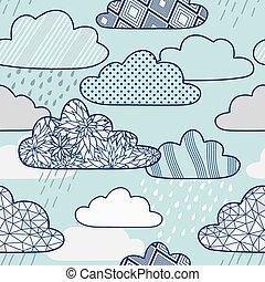 padrão, vetorial, nuvens