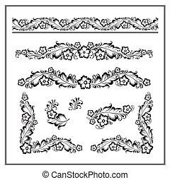 padrão, vetorial, ornamento, flor