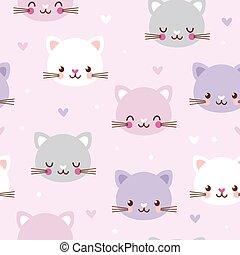 padrão, vetorial, seamless, cats., caras