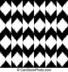 padrão, vetorial, seamless, ikat
